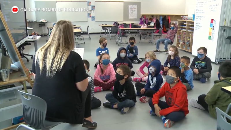 A teacher addresses students in a Calgary Board of Education classroom during the COVID-19 pandemic. (CBE)