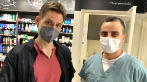 Michael Kovrig receives his first COVID-19 vaccine