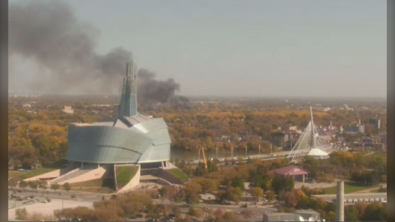 The CTV Winnipeg Live Eye captures smoke billowing from a fire in Point Douglas on September 28, 2021.