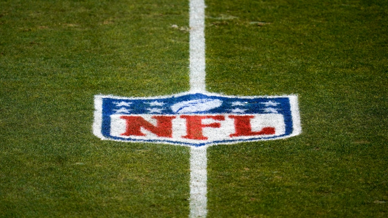 This Jan. 3, 2021, file photo shows the NFL logo on the field before a game between the Denver Broncos and the Las Vegas Raiders in Denver. (AP Photo/Jack Dempsey, File)