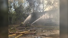 Crews battle a warehouse fire on Point Douglas Avenue on September 28, 2021. (CTV News Photo Ken Gabel)