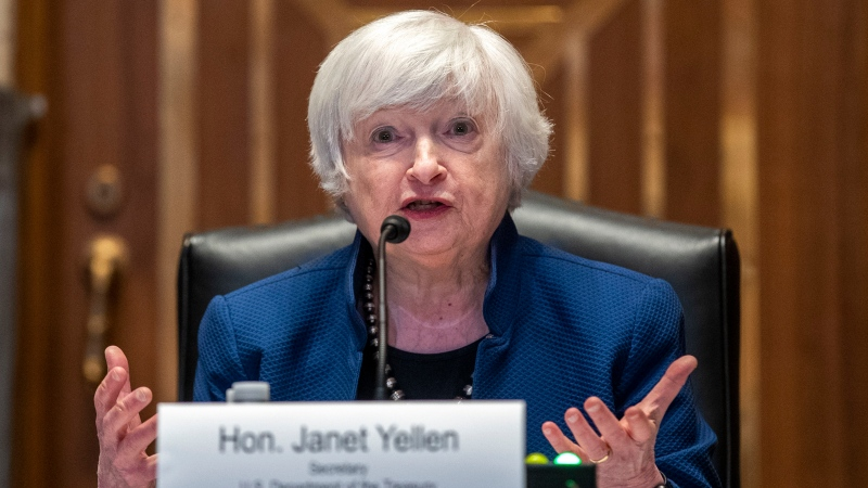 U.S. Treasury Secretary Janet Yellen, seen here at the US Capitol in Washington, on June 23, warned the government will likely run out of money by October 18. (Shawn Thew/Pool/Xinhua/eyevine/Redux via CNN)