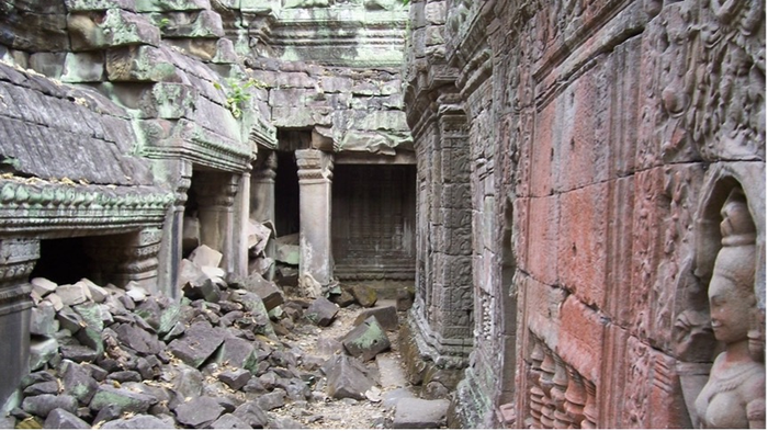 The 12th century Khmer temple of Preah Khan is seen in this photo. Researchers at the University of Sydney and the University of Texas at Austin studied the collapse of ancient Khmer cities in Southeast Asia and Maya cities in Mesoamerica. (Daniel Penny/University of Sydney)