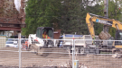 A pile of rubble sits where the Paisley Inn once stood, Sept. 28, 2021. (Scott Miller / CTV News)