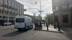 Police on scene in downtown Saskatoon after a suspicious package was reported. (Josh Lynn/CTV News)