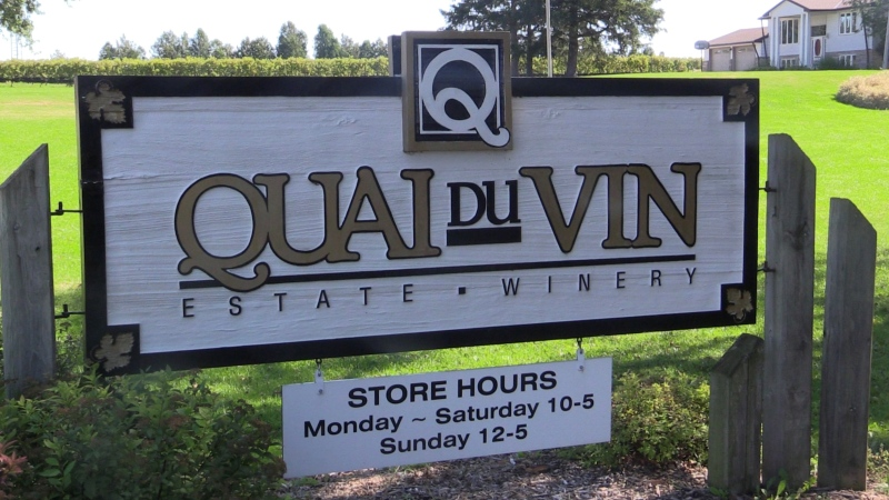 A sign for Quai Du Vin Winery near Sparta, Ont. is seen on Tuesday, Sept. 28, 2021. (Brent Lale / CTV News)