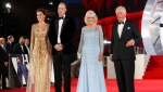From left, Britain's Kate, the Duchess of Cambridge, Prince William, Camilla, the Duchess of Cornwall and Prince Charles, arrive for the World premiere of the new film from the James Bond franchise 'No Time To Die', in London, Tuesday, Sept. 28, 2021. (Chris Jackson/Pool Photo via AP)