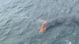 The 14-metre pleasure craft burned and sank near Egg Island, B.C. (MARPAC)