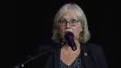 NDP MPP Peggy Sattler speaks in London, Ont. on Tuesday, Sept. 28, 2021. (Marek Sutherland / CTV News)
