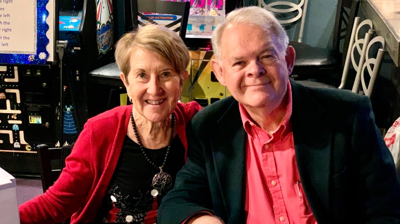 This photo shows Margie and Don Varnadoe attending a Dec. 2020 Christmas party in Brunswick, Ga, for the real estate officer where Don Varnadoe worked. (Photo courtesy of Robert Kozlowski via AP)