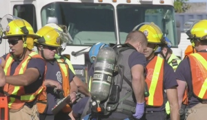 North Bay took part in a simulated hazardous material release Tuesday, involving rail cars in the Ottawa Valley Railway yard off Oak Street in the city's downtown. (Photo from video)