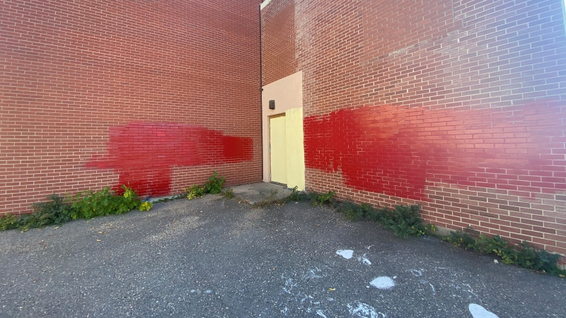 The walls of the former residential school in Lebret, Sask. were vandalized days before the first National Day for Truth and Reconciliation. (Hafsa Arif/CTV News)