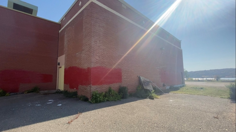Vandalism on the walls of the former residential school in Lebret, Sask.
