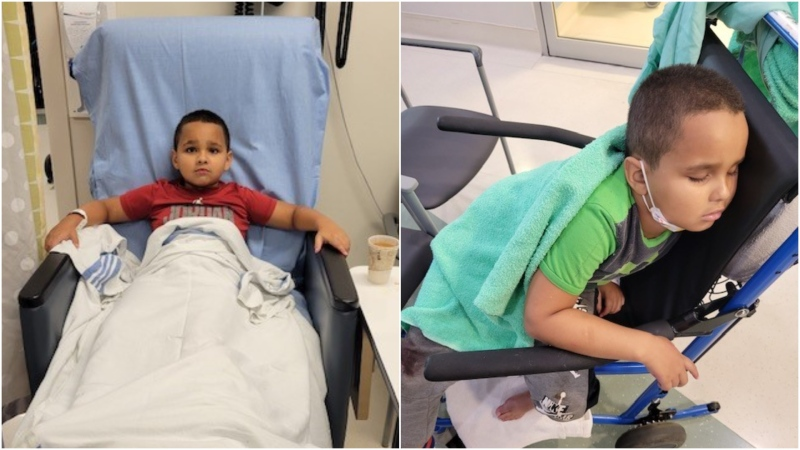 Seven-year-old Zach Ismail is seen in provided images while in hospital.