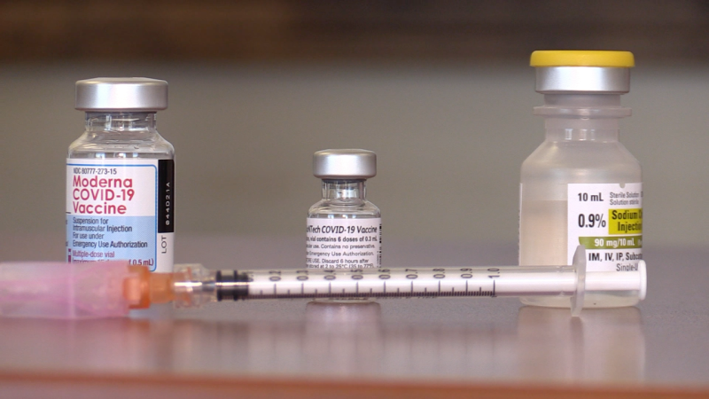 Vials of COVID-19 vaccines are at South Georgian Bay Community Health Centre in Wasaga Beach, Ont., on Wed., Sept. 29, 2021 (Mike Arsalides/CTV News)