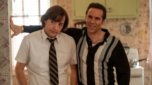 """This image released by Warner Bros. Pictures shows Michael Gandolfini, left, and Alessandro Nivola in """"The Many Saints of Newark."""" (Warner Bros. Pictures via AP)"""