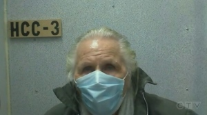 Peter Nygard (pictured) appears in Manitoba's Court of Queen's Bench by video during his extradition hearing in Winnipeg on Oct. 1, 2021. A number of media outlets won the opportunity to broadcast the hearing back in June.