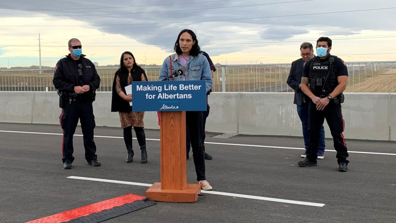 Seth Cardinal Dodginghorse, who once before interrupted a media availability for the opening of a section of Calgary's ring road, was at Saturday's event as well, attempting to have his displeasure with the project heard.