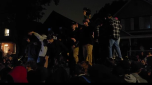 Hundreds of people attended a street party in the area of Russell Avenue and Templeton Street Saturday night following the Panda Game. (Aaron Reid/CTV News Ottawa)