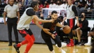 Toronto Raptors guard Fred VanVleet controls the ball during a team scrimmage in London, Ont., on Oct. 2, 2021. (Nicole Osborne / THE CANADIAN PRESS)