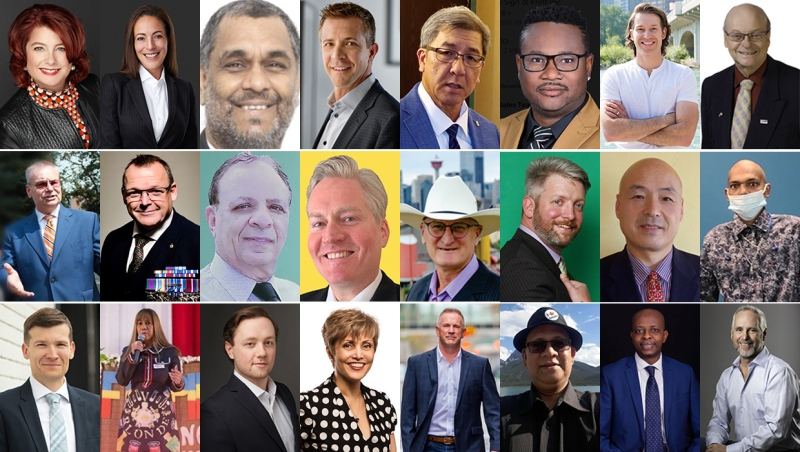 A total of 27 candidates are vying to become Calgary's next mayor, 24 of whom are pictured in this compilation. (supplied images)