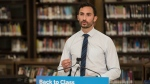 Ontario Education Minister Stephen Lecce speaks at a press conference for the Ontario Government at St. Robert Catholic High School in Toronto, on Wednesday, August 4, 2021. THE CANADIAN PRESS/ Tijana Martin