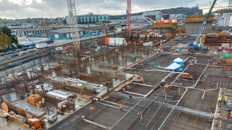 The North Shore Wastewater Treatment Plant is seen during construction in Fall 2020. (Metro Vancouver)