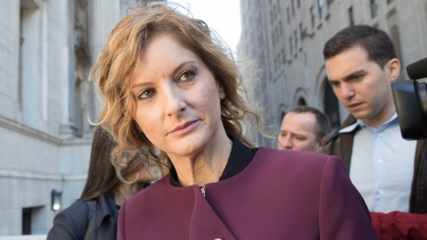 Summer Zervos leaves New York state appellate court, on Oct. 18, 2018. (Mary Altaffer / AP)