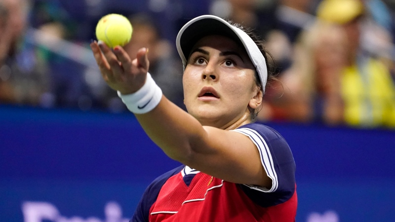 Bianca Andreescu, of Canada, serves to Maria Sakkari, of Greece, during the fourth round of the US Open tennis championships, Monday, Sept. 6, 2021, in New York. (AP Photo/John Minchillo)
