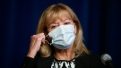 Ontario Minister of Health Christine Elliott removes her mask to speak at a press conference at Queen's Park in Toronto, Wednesday, Sept. 22, 2021. THE CANADIAN PRESS/Cole Burston