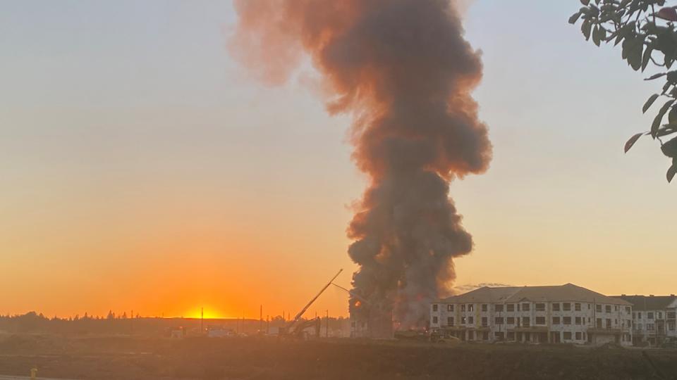 A major fire inside a Mattamy Homes development off Palladium Drive. (Annette Goerner/CTV Morning Live)