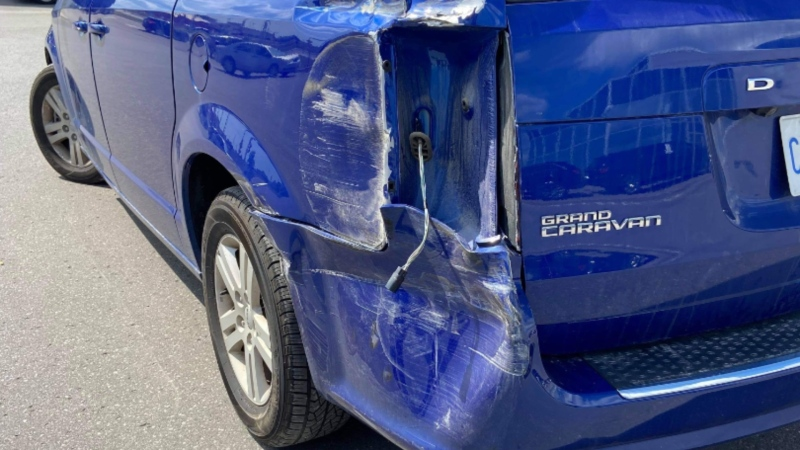 Oshawa woman Megan Smith's van was damaged in a crash after she took it to the dealership. (Supplied)