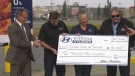 Yorkton Hyundai presented a cheque to the Brayden Ottenbreit Close Cuts for Cancer Local Cancer Initiatives Program on Wednesday. (Luke Simard/CTV Yorkton)