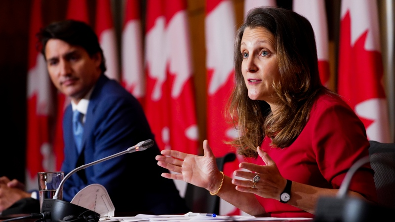 Prime Minister Justin Trudeau and Minister of Finance and Deputy Prime Minister Chrystia Freeland hold a press conference in Ottawa on Wednesday, Oct. 6, 2021. THE CANADIAN PRESS/Sean Kilpatrick