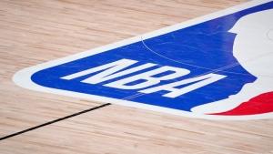 The NBA logo at centre court in Lake Buena Vista, Fla., on Sept. 2, 2020. (Mark J. Terrill / AP)