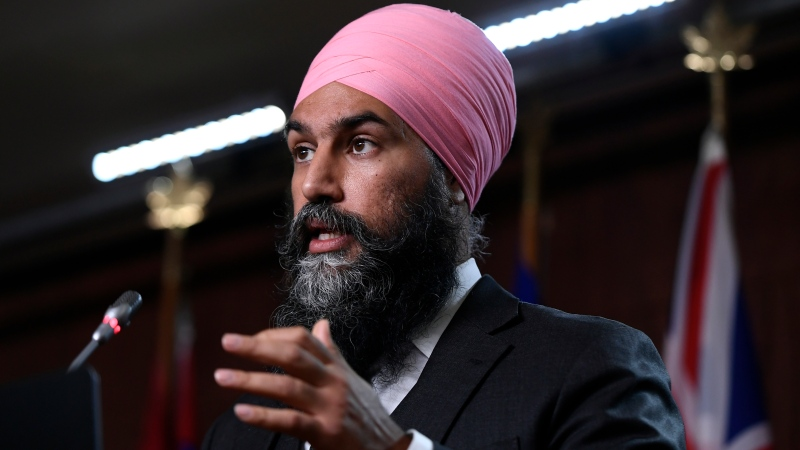 NDP Leader Jagmeet Singh speaks during a news conference after the party's first caucus meeting of the 44th Parliament, on Parliament Hill in Ottawa, on Thursday, Oct. 7, 2021. THE CANADIAN PRESS/Justin Tang