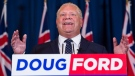 Ontario premier Doug Ford speaks to the media after winning the Ontario Provincial election in Toronto, on Friday, June 8, 2018. (THE CANADIAN PRESS/Nathan Denette)