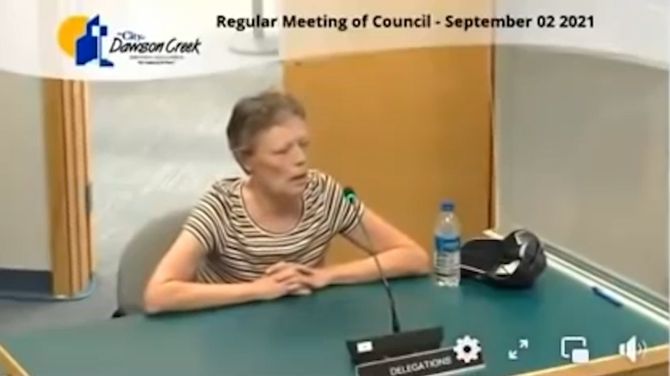Screenshot of viral video from city council