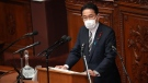 Japanese Prime Minister Fumio Kishida delivers his first policy speech during an extraordinary Diet session at the lower house of parliament Friday, Oct. 8, 2021, in Tokyo. (AP Photo/Eugene Hoshiko)