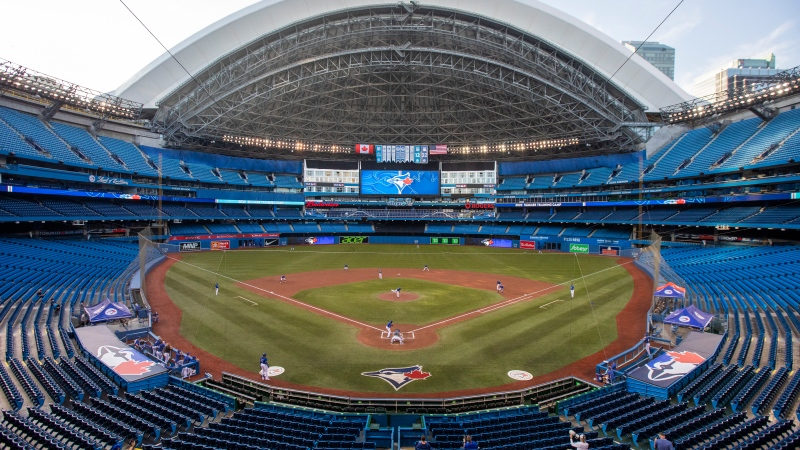 The Toronto Blue Jays play an MLB intrasquad baseball game in a nearly empty Rogers Centre in Toronto, Thursday, July 9, 2020.  THE CANADIAN PRESS/Carlos Osorio