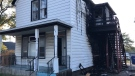 Fire broke out at 969 Wyandotte St. West, just east of Oak Street around 1 a.m. Saturuday, Oct. 9, 2021. (Michelle Maluske / CTV News)