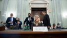 Former Facebook employee and whistleblower Frances Haugen prepares to leave after a Senate Committee on Commerce, Science, and Transportation hearing on Capitol Hill on Tuesday, Oct. 5, 2021, in Washington. (Drew Angerer/Pool via AP)