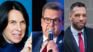 Projet Montreal's Valerie Plante, Ensemble Montreal's Denis Coderre, and Mouvement Montreal's Balarama Holness remain on the campaign trail leading up to the Nov. 7 municipal election. (THE CANADIAN PRESS/Graham Hughes; THE CANADIAN PRESS/Ryan Remiorz; THE CANADIAN PRESS/Paul Chiasson)