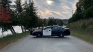 An OPP cruiser blocks off the road (Ontario Provincial Police)