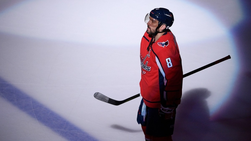 Washington Capitals left wing Alex Ovechkin on the ice before an NHL hockey game against the Boston Bruins in Washington, on May 11, 2021. (Nick Wass / AP)