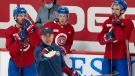 FILE: Montreal Canadiens head coach Dominique Ducharme calls out a drill during the first day of on ice training camp Thursday, September 23, 2021 in Brossard, Quebec. THE CANADIAN PRESS/Ryan Remiorz