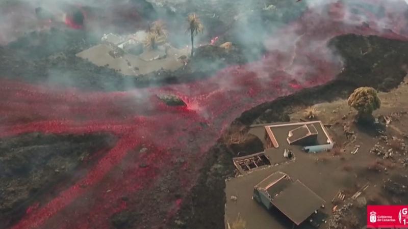 Drone video of lava rolling down La Palma volcano