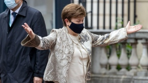 Kristalina Georgieva from the IMF, arrives ahead of the G7 finance ministers meeting at Lancaster House in London, on June 4, 2021. (Steve Reigate / Pool via AP)