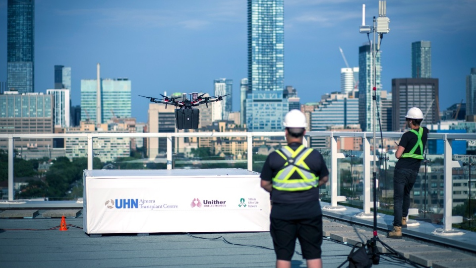 Unmanned drone practice flight over Toronto