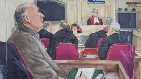 An artist's drawing of accused serial killer Robert Pickton, left, listening to the judge charge the jury at BC Supreme Court in New Westminster, Friday, November 30, 2007. (THE CANADIAN PRESS/Felicity Don)